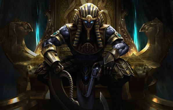 Picture Egypt, Fantasy, Art, Fiction, The throne, God, Revolver, Ares, Horus, by Ares, Egyptian Pharaoh