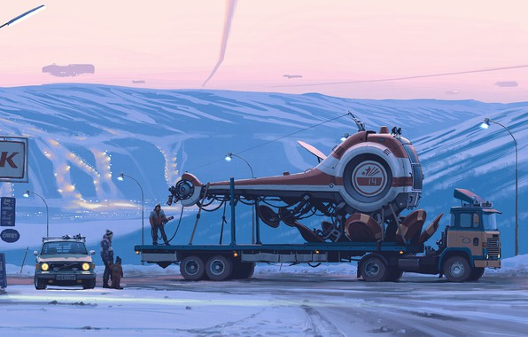 Picture car, fantasy, twilight, sunset, science fiction, winter, snow, spaceship, people, sci-fi, truck, cyberpunk, artist, digital …