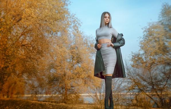 Picture autumn, leaves, water, trees, model, skirt, Girl, figure, blonde, Alexander Drobkov-Light, Carina Carina