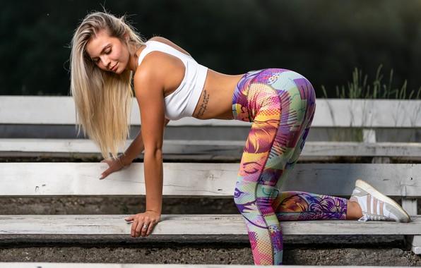 Picture sexy, pose, model, makeup, Mike, figure, tattoo, shop, hairstyle, blonde, sneakers, leggings, Ilya Pistoletov, Ilya …
