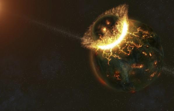 Picture fire, planet, disaster, blow, destruction, clash