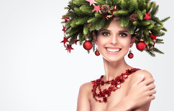 Picture girl, balls, decoration, branches, smile, creative, white background, needles, shoulders