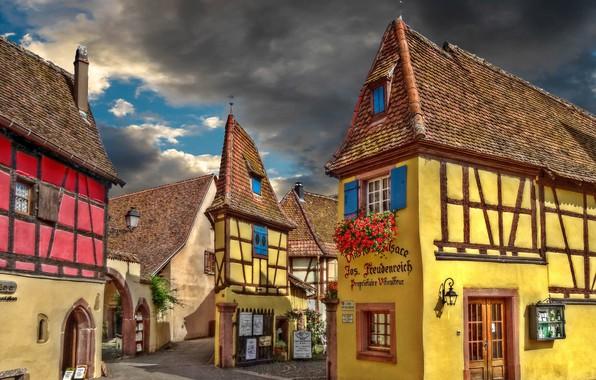 Picture house, street, France, village, Eguisheim