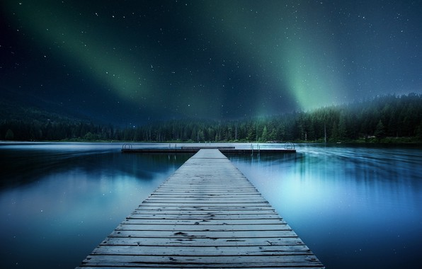 Picture forest, the sky, stars, river, pier, pierce
