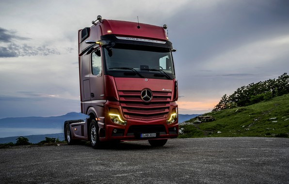Picture red, lights, Mercedes-Benz, Playground, tractor, 4x2, Actros