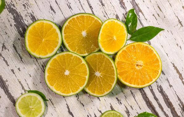 Picture orange, lime, citrus, wood