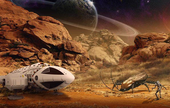 Picture space, mountains, stones, rendering, fiction, rocks, desert, people, planet, fight, art, insect, pilot, spaceship, astronaut, …