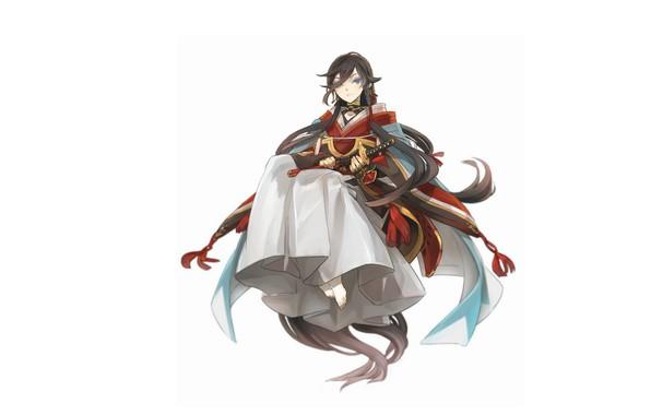 Picture katana, barefoot, white background, guy, blue eyes, cloak, long hair, Touken Ranbu, Dance Of Swords, …