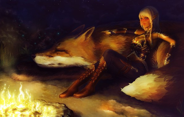 Picture look, night, pose, animal, the fire, fantasy, art, Fox, elf, sitting