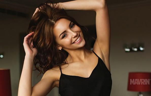 Picture look, girl, pose, smile, model, brunette, beauty, Galina Dubenenko