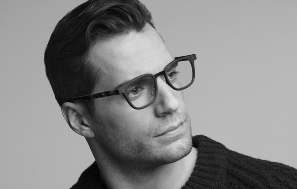 Picture photo, glasses, black and white, Henry Cavill, Hugo Boss