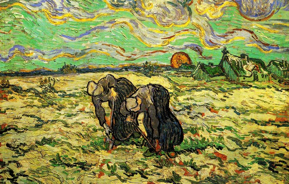 Picture the sun, clouds, Vincent van Gogh, women working in the garden, Two Peasant, Women Digging …