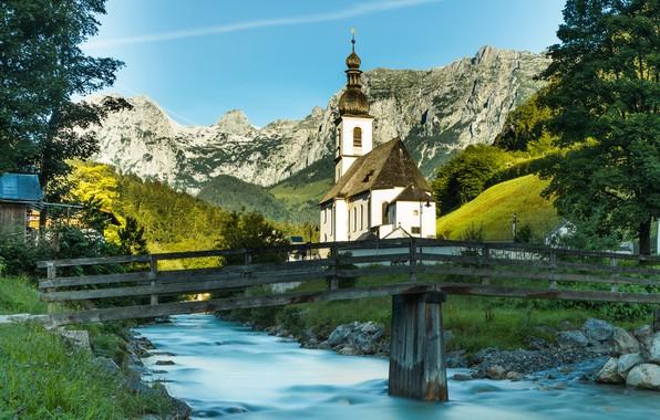 Picture photo, Bridge, The city, River, Germany, Bayern, Church, Temple, Ramsau