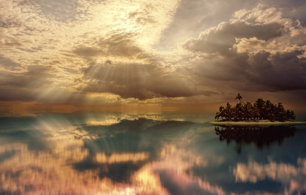 Picture The sky, Water, Clouds, The ocean, Reflection, Sea, Island, Horizon, Clouds, Palm trees, Rays, Landscape, …