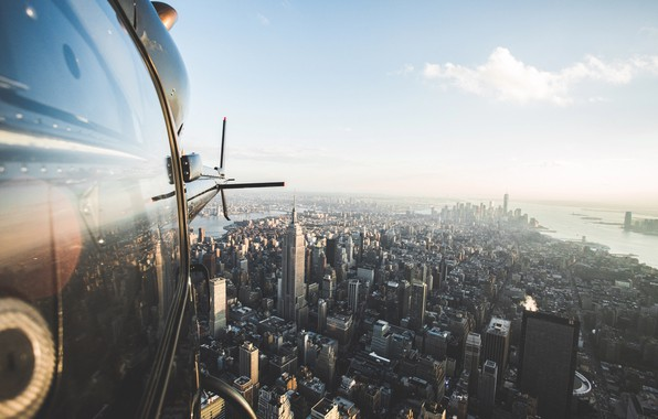 Picture helicopter, USA, flight, the view from the top, New York