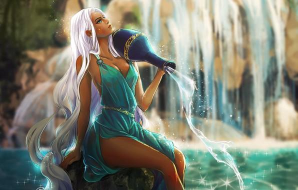 Picture Water, Girl, Figure, Girl, Hair, Dress, Art, Beautiful, Beauty, Water, Beautiful, Aquarius, Dress, Pitcher, Pretty …