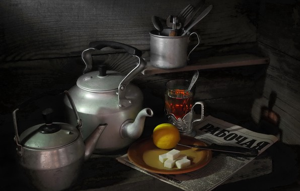 Picture lemon, kettle, newspaper, still life, Tea, refined sugar, photographer Sergey Pounder