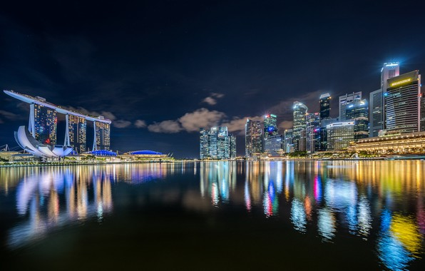 Picture night, lights, backlight, Singapore