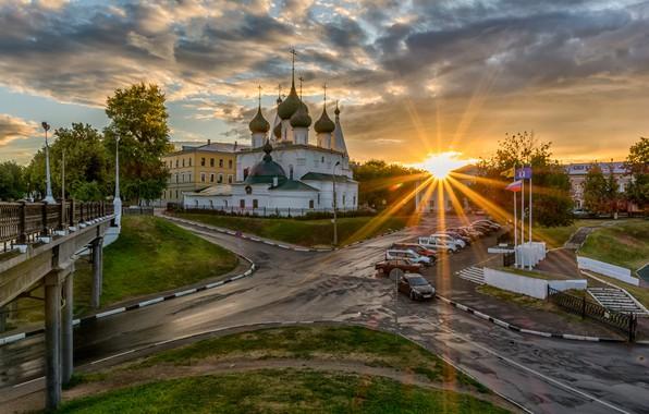 Picture the sun, rays, bridge, the city, road, morning, temple, Yaroslavl