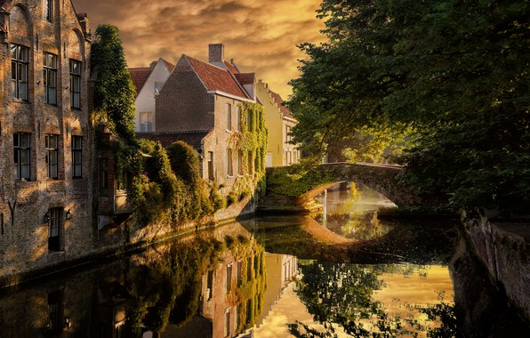 Picture the city, river, thickets, home, Belgium, the bridge, Bruges