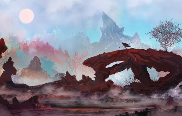 Picture The sun, Mountains, Figure, Silhouette, Warrior, Landscape, Art, Landscapes, Digital Art, TacoSauceNinja, by TacoSauceNinja, Bioflavinoids