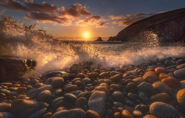 Picture beach, pebbles, wave, The sun, beach, sun, wave, pebbles, Jose Liñeira Pine