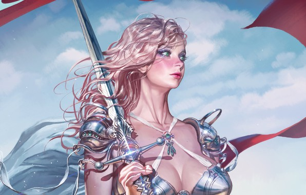 Picture girl, sword, fantasy, cleavage, armor, green eyes, weapon, breast, artist, blonde, digital art, artwork, warrior, …