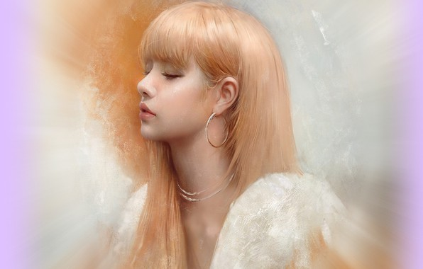 Picture earrings, blonde, profile, Asian, art, bangs, closed eyes, portrait of a girl, Justine Florentino