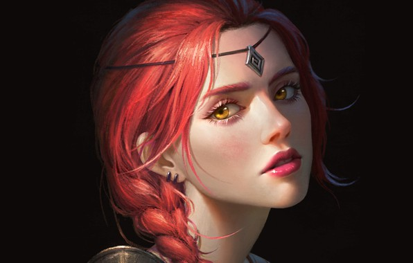 Picture look, girl, decoration, face, hair, portrait, fantasy, art, black background