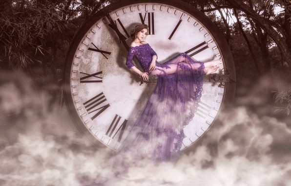 Picture look, girl, clouds, trees, branches, pose, fog, style, collage, arrows, watch, photoshop, round, treatment, dress, …
