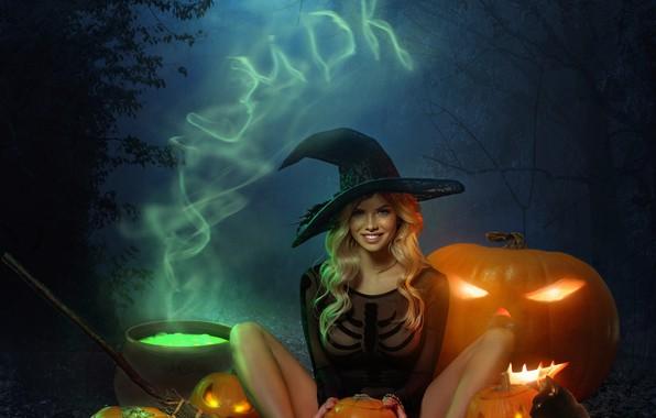 Picture girl, night, hat, Halloween, pumpkin, Halloween, Alexander Mavrin