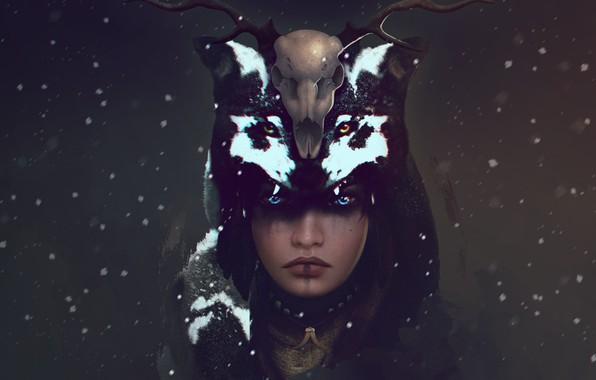 Picture look, girl, snow, skull, wolf, deer, art, horns, shaman