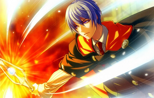Picture lights, magic, guy, cloak, blue hair, wand of fortune, visual novel, julius fortner, wand of …
