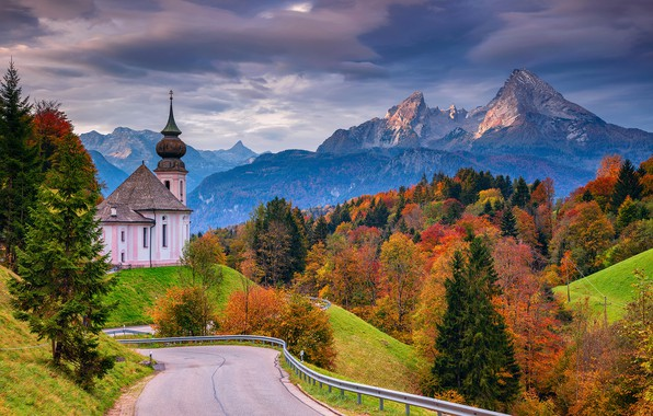 Picture road, autumn, forest, trees, mountains, Germany, Bayern, Church, Germany, Bavaria, Bavarian Alps, The Bavarian Alps, …