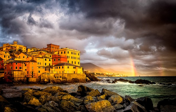 Picture sea, the storm, clouds, the city, stones, home, rainbow, Italy, Genoa, Genoa, Boccadasse, Boccadasse