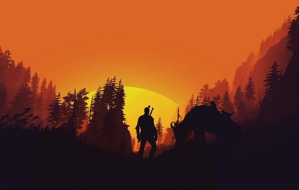 Picture fantasy, game, forest, The Witcher, trees, sun, horse, weapons, digital art, artwork, warrior, swords, fantasy …