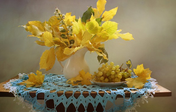 Picture autumn, leaves, branches, berries, butterfly, plate, grapes, pitcher, table, napkin, Kovaleva Svetlana