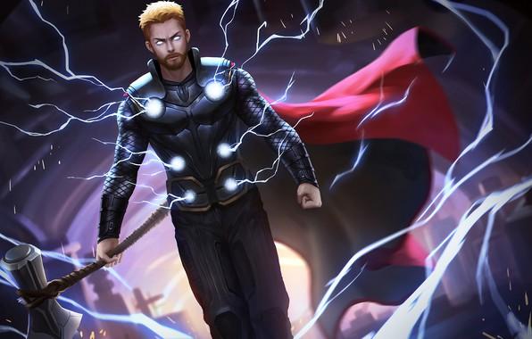 Picture zipper, cloak, lightning, axe, Thor, Thor, war infinity, infinity war, stormbreaker