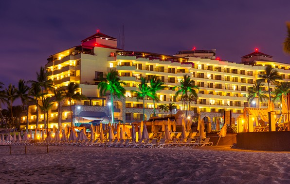 Picture sand, beach, night, lights, palm trees, Mexico, lights, the hotel, sun loungers, Port, Vallarta