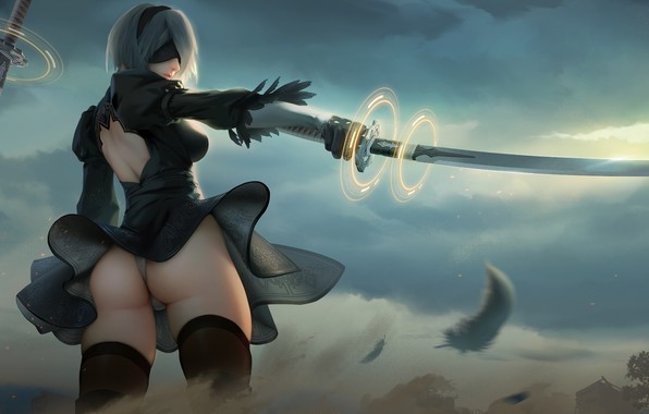 Picture girl, sword, game, ass, panties, nier, butt, nier automata