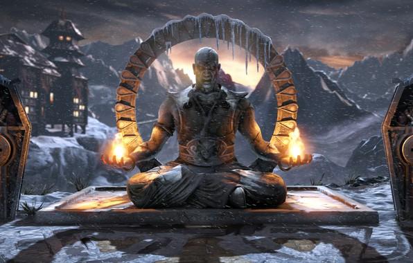 Picture snow, temple, statue, arena, temple, Mortal Kombat X, arena, Lin Kuei, The Lin Kuei