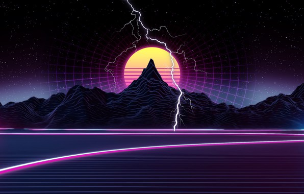 Picture The sun, Mountains, Music, Stars, Lightning, Space, Background, Graphics, 80s, 80's, Synth, Retrowave, Synthwave, New …