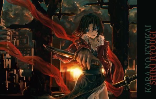 Picture katana, dagger, killer, evil eye, Shiki Ryougi, The garden of sinners, The war of the …