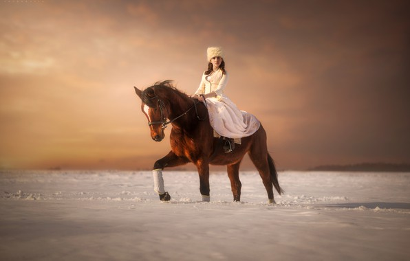 Picture winter, girl, snow, horse, rider, Paul Szamreta