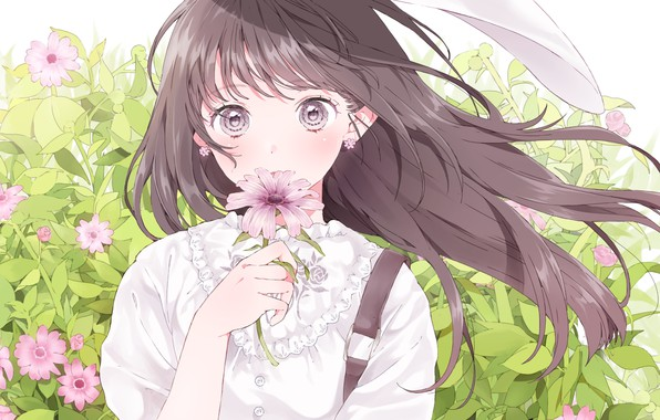Picture face, girl, vacation, long hair, art, big eyes, cosmos, white blouse, flower in hand, Ashizuko
