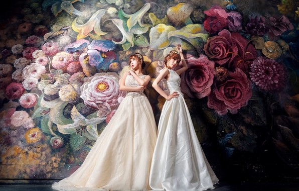 Picture flowers, style, the dark background, background, girls, wall, two, roses, bouquet, white, painting, Duo, painting, ...