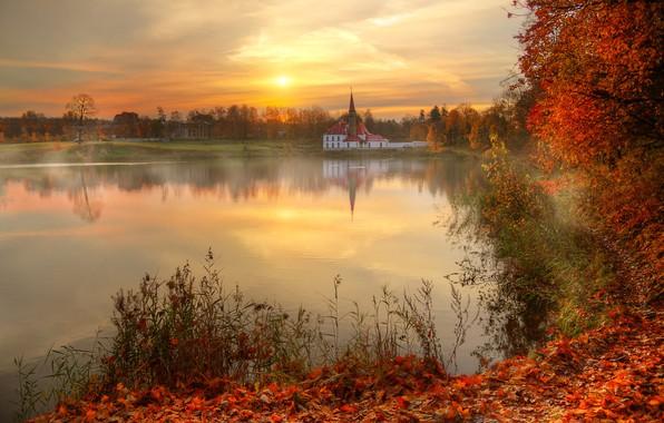 Picture autumn, the sun, reflection, river, Saint Petersburg, Ed Gordeev, Gordeev Edward