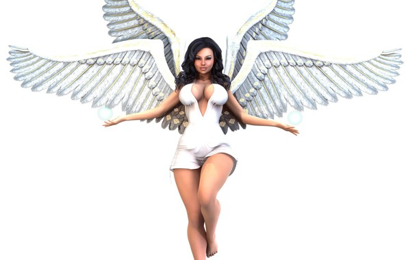 Picture girl, angel, white background
