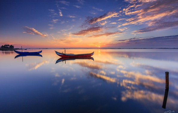 Picture sea, clouds, reflection, boats