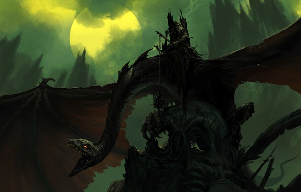Picture the moon, dragon, wings, power, fantasy, art, mouth, art
